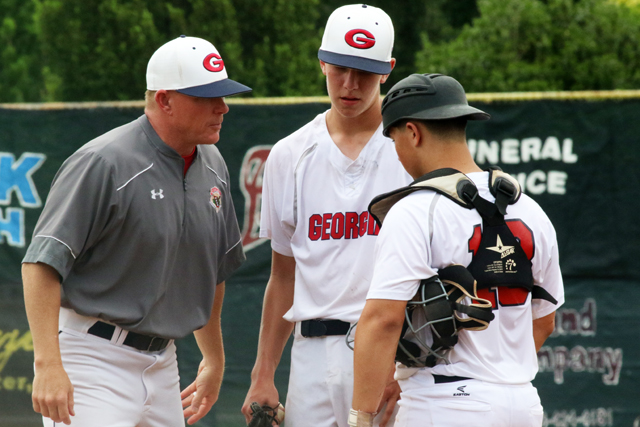 061317 008a Pitching Coach David Smart Talks With Pitcher Jared Rine And Catcher Tater Goodson Against Team Arizona