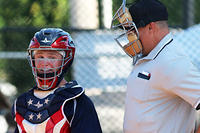 061117-007-Catcher Jack Haney talks with the plate umpire in between pitches against Team Colorado
